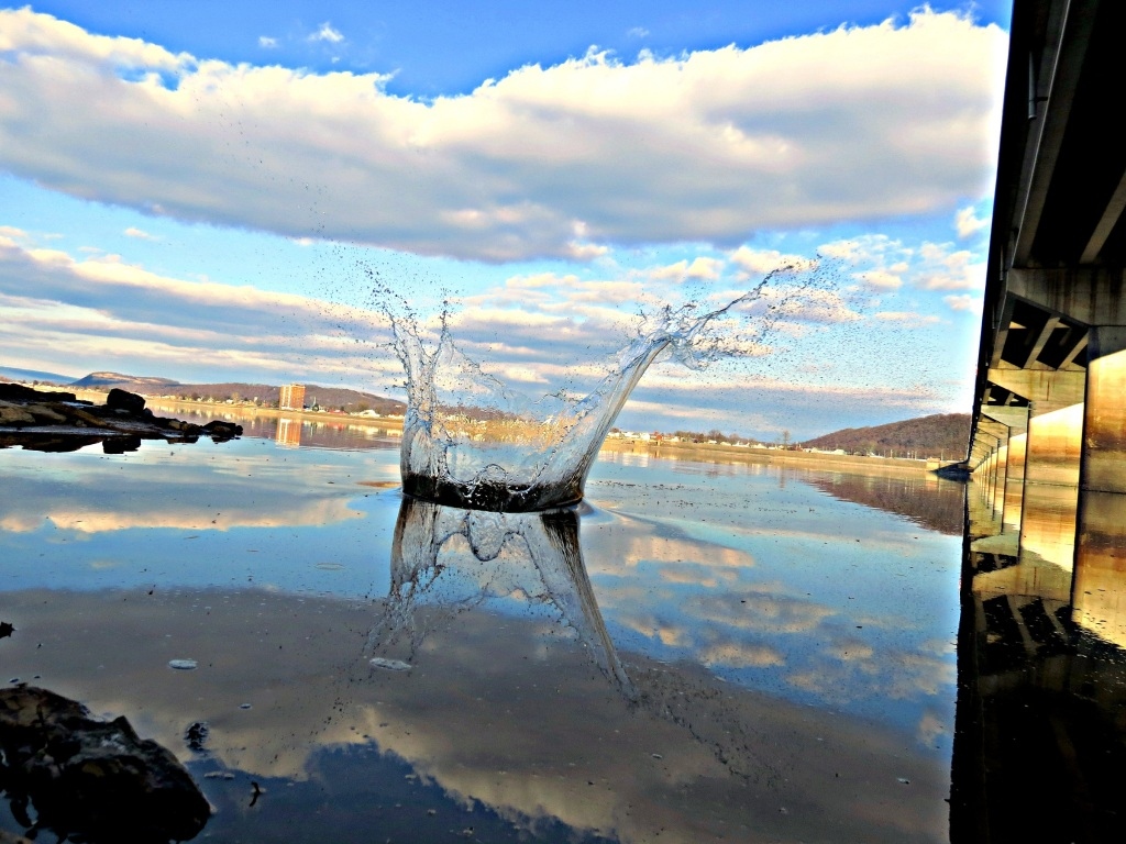 """Tossing rocks into the Susquehanna River,"" by Tony Bendele, Sunbury"